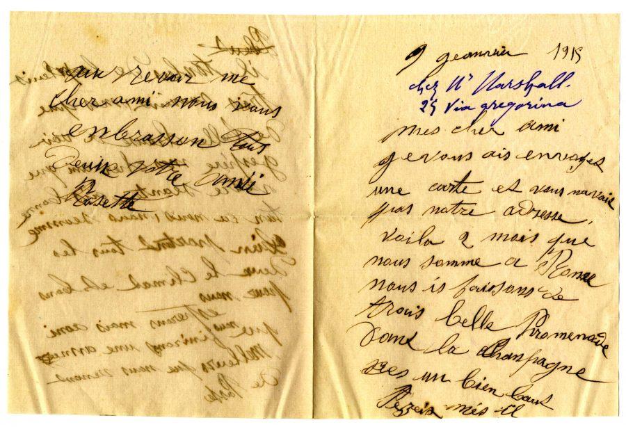 Lettre de Rose du 9 janvier 1915 à Vivier. (Collection SHCB).