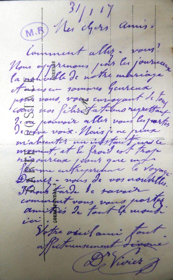 Dernier courrier de Vivier à Rodin 31/01/1917