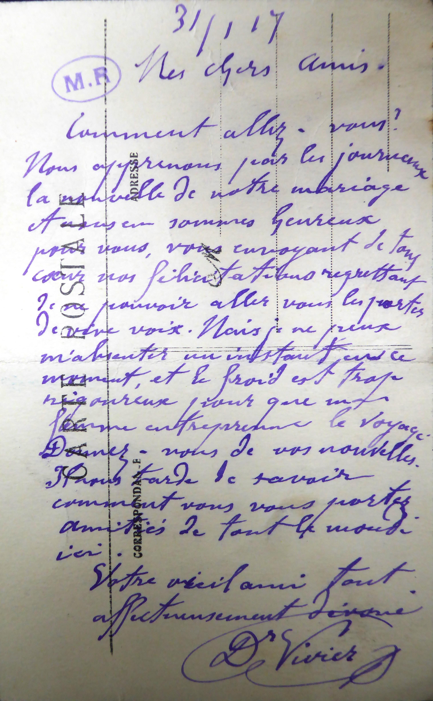 dernier courrier vivier a rodin19170131