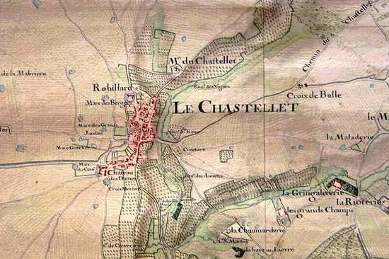 """Carte topographique de la partie de la capitainerie de Fontainebleau du costé de la brie"""", 1728-1729  Document : AN côte N1 Seine-et-Marne 54"""