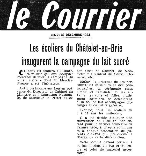 Le Courrier - jeudi 16 décembre 1954