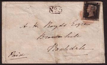 Le black Penny premier timbre émis en Angleterre en 1840.