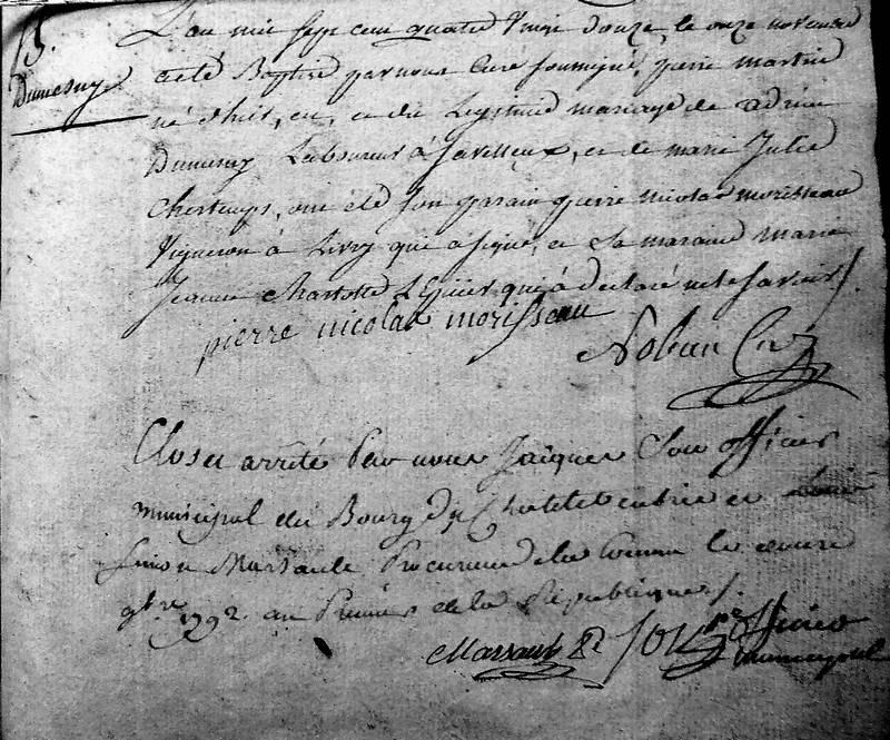 Dernier acte de baptême enregistré au Châtelet par le curé Noleau et clôture du registre paroissial (Archives communales du Châtelet)