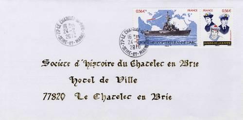Lettre de 2010 oblitérée au Châtelet-en-Brie (Collection SHCB)