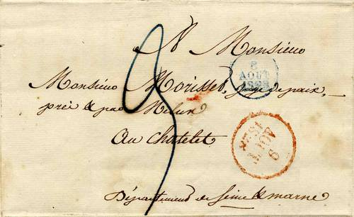 Courrier du 9 août 1828 à destination du Juge de Paix du Châtelet-en-Brie Avant l 'apparition du timbre poste (Collection SHCB)
