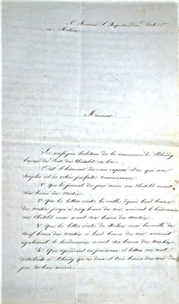 Pétition de la population de Blandy-les-Tours 1853 (Archives Départementales 77 cote 227 E 547).