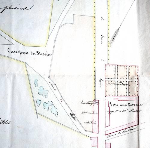 Relais de poste aux chevaux appartenant M Sintier en 1828 Archives départementales 77 (cote: 5MP76)
