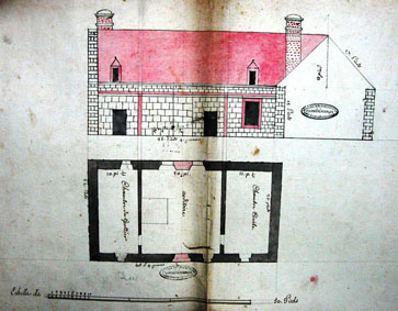 Plan de la maison de l'Auditoire (Archives des Yvelines cote 73H76)
