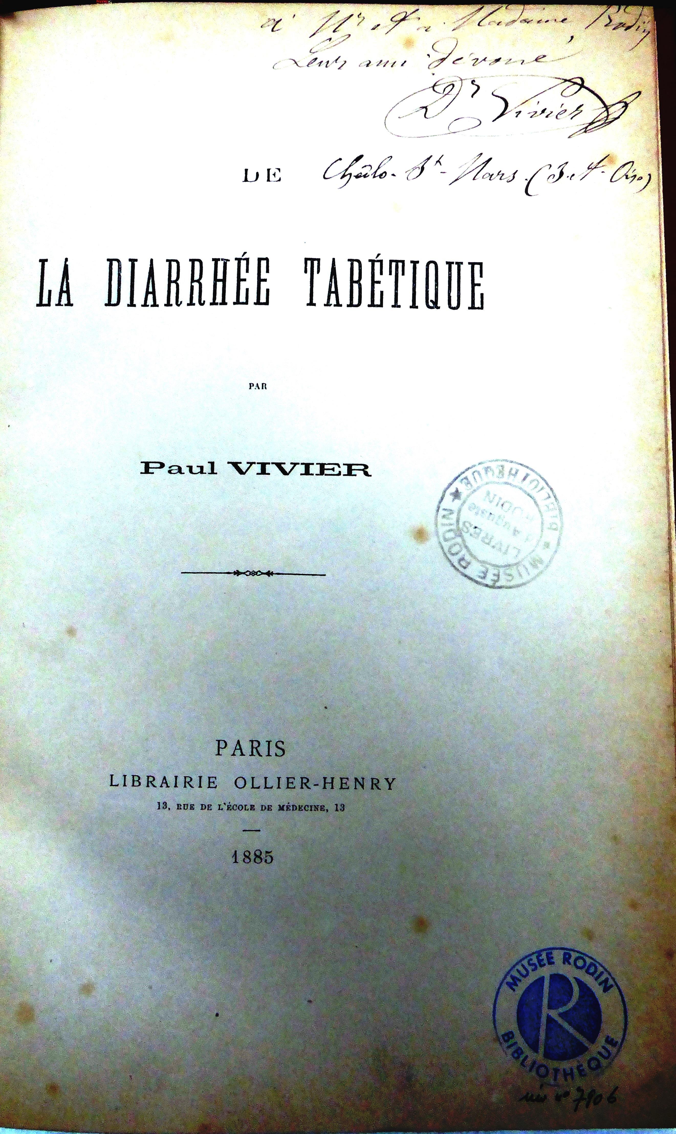 Page de garde de la  thèse de P. Vivier