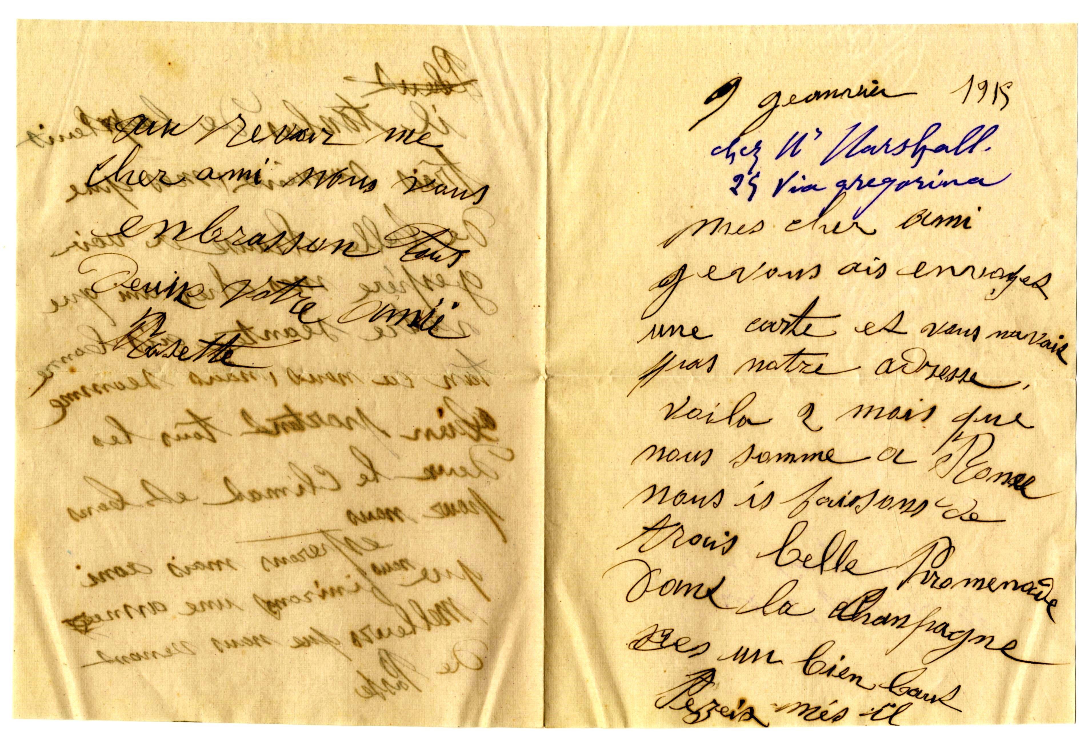 Lettre de Rose du 9 janvier1915 à Vivier. (Collection SHCB).