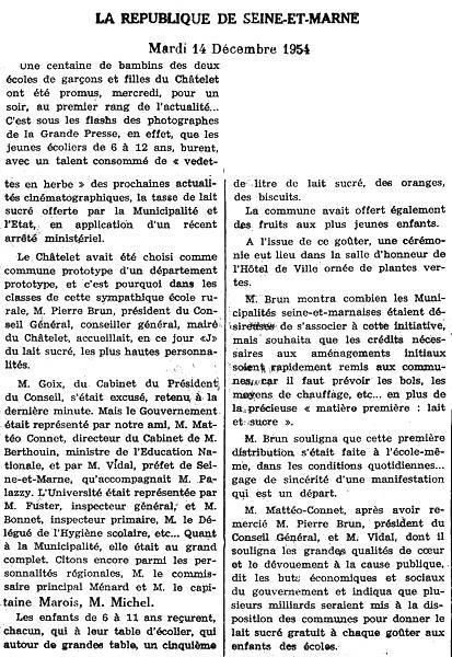 La République de Seine-et-Marne - mardi 14 décembre 1954