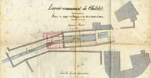 Travaux de rallongement du lavoir en 1885 (partie rouge) (Archives communales)