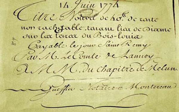 Titre rente du 14 juin 1774. Archives départementales 77)