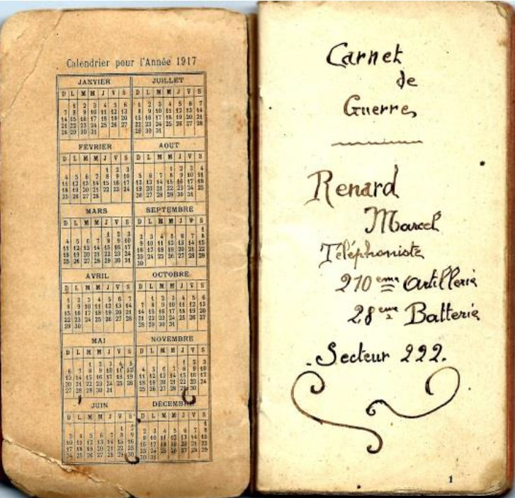 Extraits du carnet de guerre de Marcel Renard Novembre 1918 (collection Jean-Claude Renard)