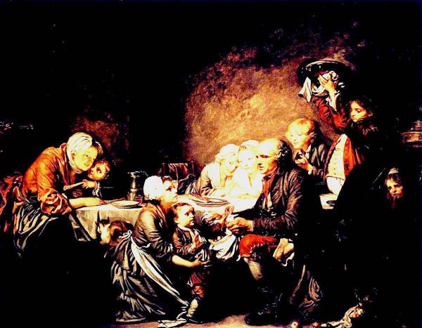 Greuze le gâteau des rois 1774 Plats et cruches en étain
