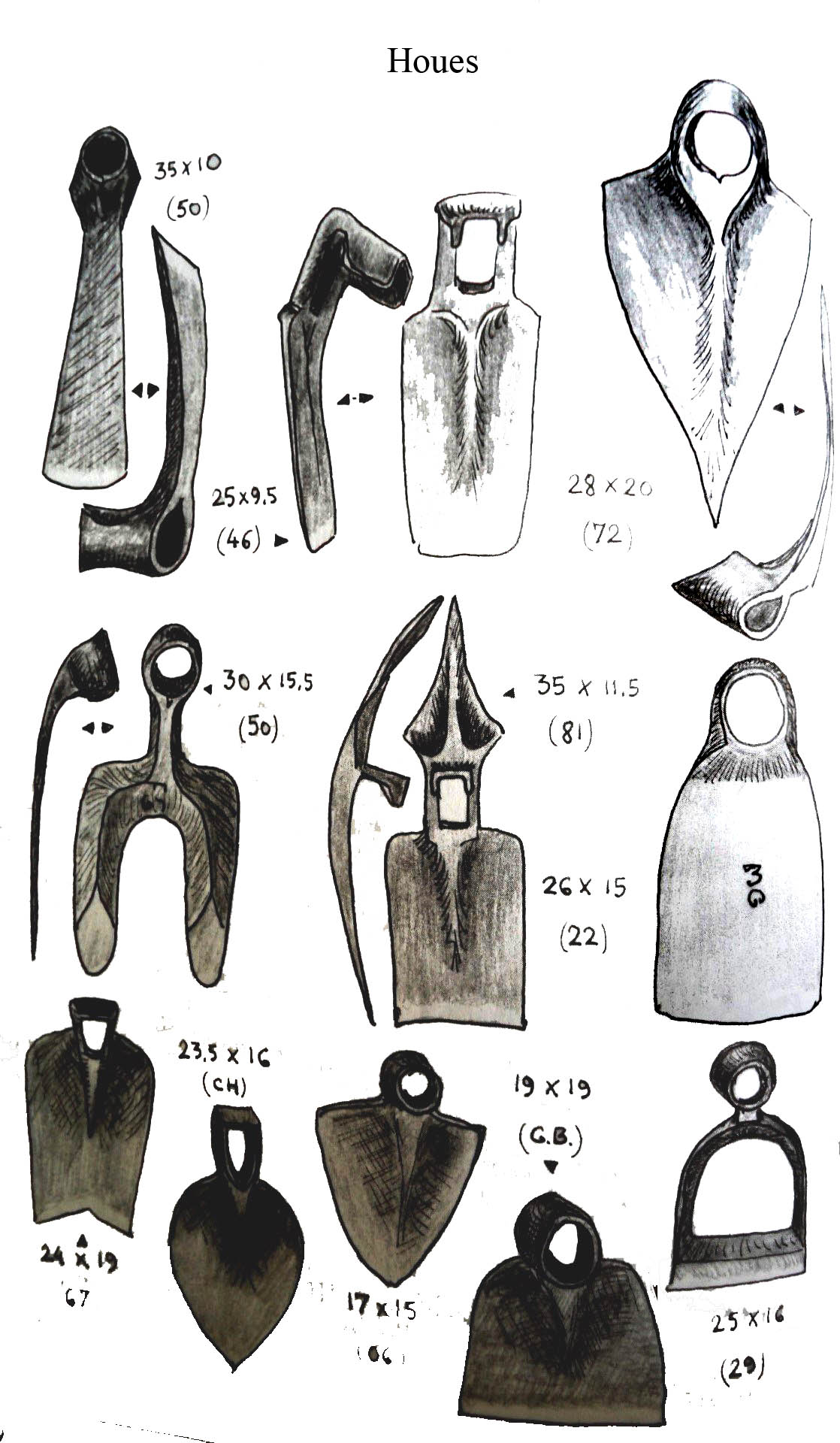 Houes et houe à déchausser (Dictionnaire de outils Bibl Arts , Sciences et Techniques)