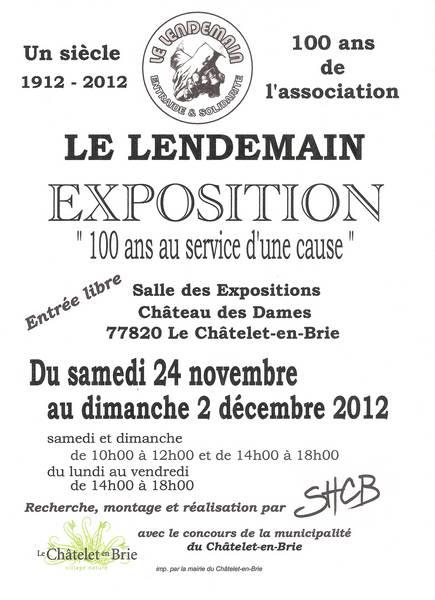 Affiche exposition 100 ans du Lendemain