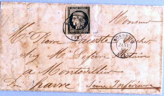 Lettre émise le 1er janvier 1849 Avec le premier timbre édité en France (Musée de La Poste Paris).