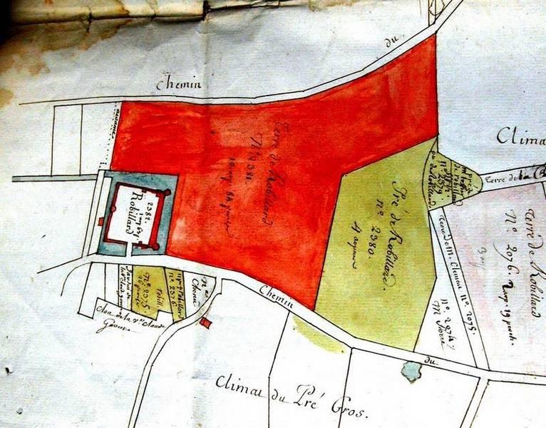 Plan fief de Robillard de 1765 (Astrolabe Melun cote 73H98)