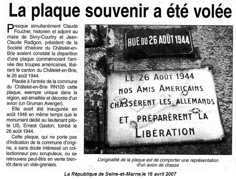 Vol de la plaque en 2007 (La République de Seine-et-Marne, le 16 avril 2007)