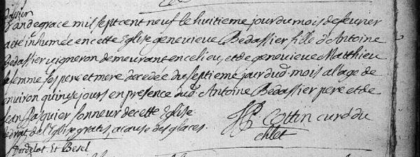 Acte de décès de Geneviève Bédassier