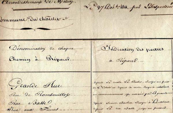 Noms de chemins et de rues 1811